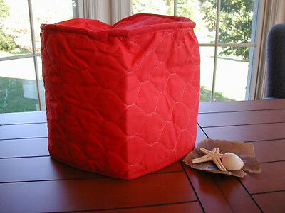 Red 4 Qt. Crockpot Etc Appliance Cover Round FEW LEFT, Solid quilted fabric