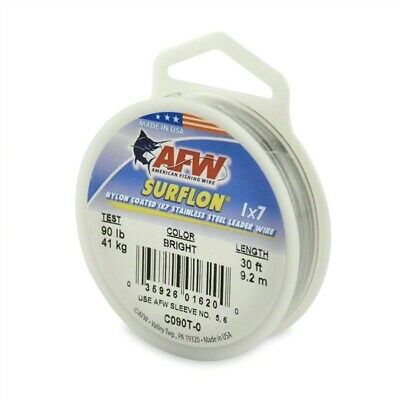 AFW C090T-0 Surflon, Nylon Coated 1x7 Stainless Leader Wire, 90 lb