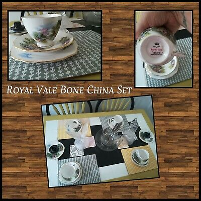 Royal Vale Bone China Set With Gold Gilded Edging