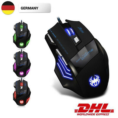 ZELOTES USB Wired Gaming Mouse Mice LED Optical 7200 DPI 7 Tasten For Pro Gamer