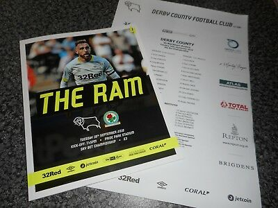 DERBY COUNTY  v  BLACKBURN ROVERS   2018/19  SEPT 18   PROGRAMME + TEAM SHEET