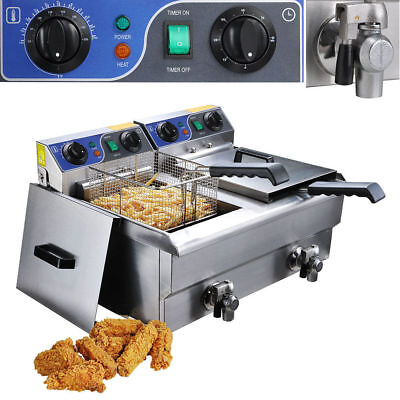23.4L Commercial Deep Fryer w/ Timer Drain Fast Food French Frys