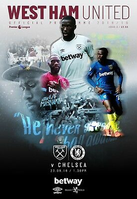 West Ham United V Chelsea-Premier League-Programme Sunday 23Rd September