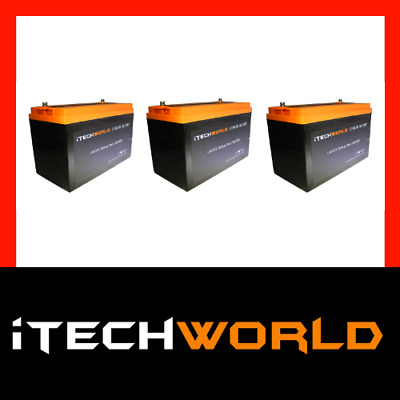 3x 12V 120ah Lithium LiFePo4 Deep Cycle recharge Battery Solar 4WD Caravan RV