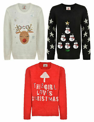 Girls Christmas Jumper Ex Uk Store Xmas Festive Novelty Jumpers 4-14Y Bnwt