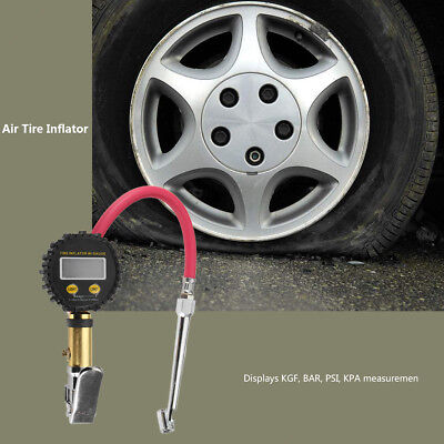 Air Tire Inflator with High Accurate Digital Pressure Gauge W/ Clip Pistol Type
