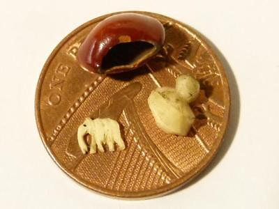 Antique Lucky Elephant Bean Seed Tiny Miniature Carved Animal Inside Bean #V45*