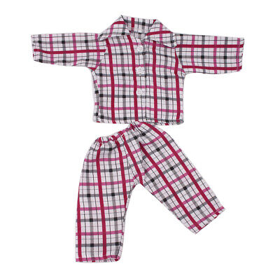 "Plaid Pattern Pajamas Set Clothes For 18"" American Generation My Life Doll"