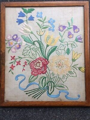 Vintage Embroidery Floral Picture In A Oak Glazed Frame