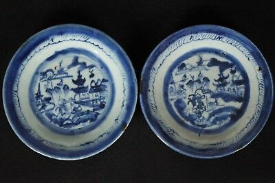 A Beautiful Pair of Antique Early Chinese Hand-painted Blue and White Plates