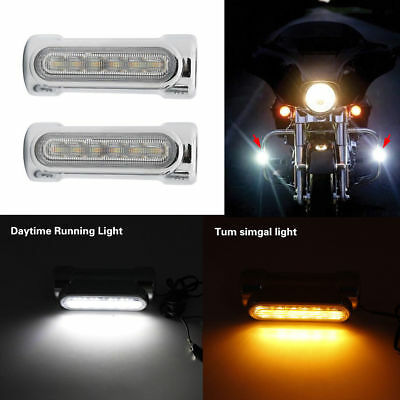 Chrome Motorcycle Highway Bar Lights LED For Harley DRL Turn signal Switchback