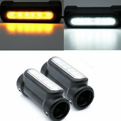 "For Harley Crash Bar Light DRL Turn Signal Switchback Black Set fits 1.25"" Bars"