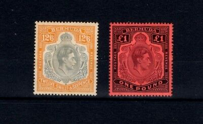 BERMUDA 1938 12/6d & £1 PERF 14 DEFINITIVE KEY PLATES MOUNTED MINT