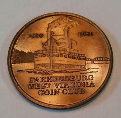 Parkersburg West Virginia Coin Club 1956-1981 25th Anniversary Medal