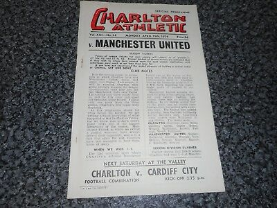 CHARLTON ATHLETIC  v  MANCHESTER UNITED  1953/4  ~ APRIL 19 inc. DUNCAN EDWARDS