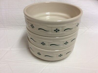 Longaberger Woven Traditions Heritage Green 3 STACKING CEREAL BOWLS 6""