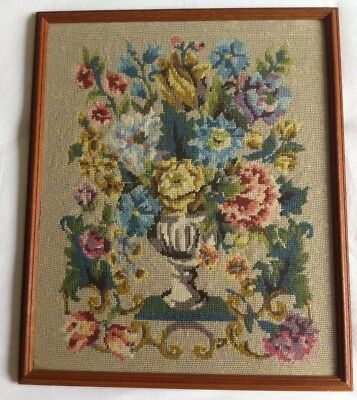 Gorgeous Floral  Vintage Large   RETRO Needlepoint Picture Tapestry