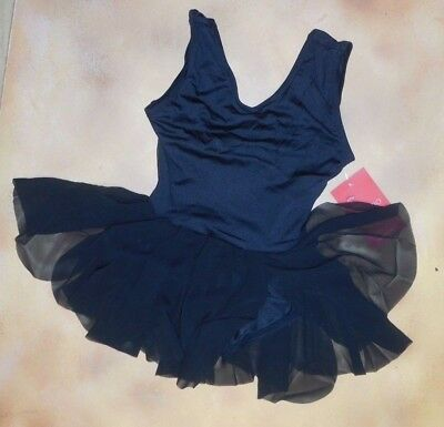 NWT Capezio Girl's Black Petal panel dress 10621C Sheer back inserts v front
