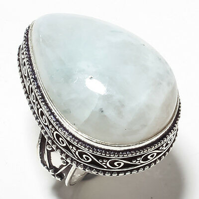 Rainbow Moon Stone Vintage Style Gemstone 925 Sterling Silver Jewelry Ring 8