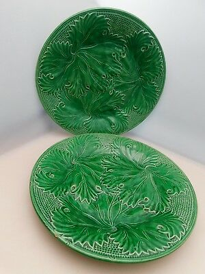 Vintage Antique Pair of Green  Majolica Leaf  Plates