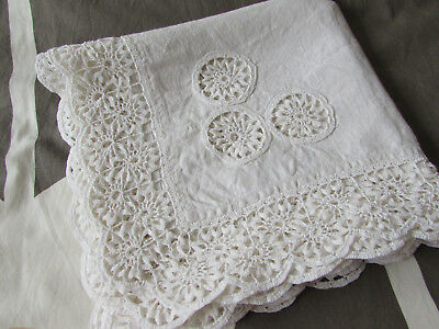 vintage tablecloth with beautiful,delicate hand crochet work lace edge & inserts