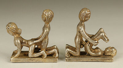 rare 2 tibet silver Old Handmade Carved sexual culture Statue figure netsuke