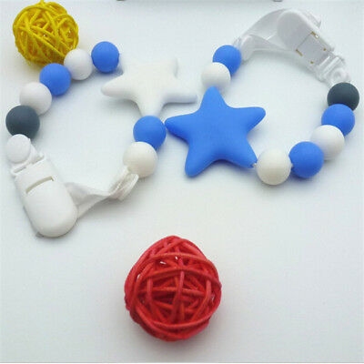Baby Non-toxic Soother Holder Silicone Beaded Dummy Clip Pacifier Chain CB