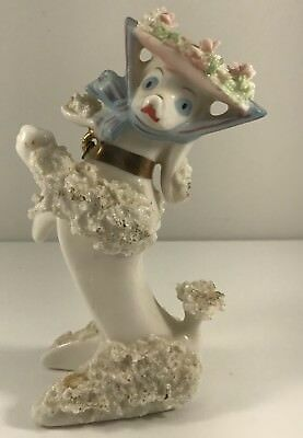 Vintage Spaghetti Poodle Figurine White with Hat Gold Collar Japan Whimsical  W3