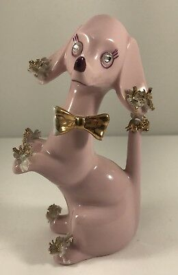 Vtg Lefton Pink Spaghetti Poodle Dog Figurine Rhinestone Eyes Gold trim Japan W3