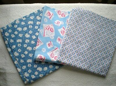 LOT 3 Full Vtg FEEDSACKS Quilt Sewing Doll Clothes Craft Cotton  BLUE PATTERNS