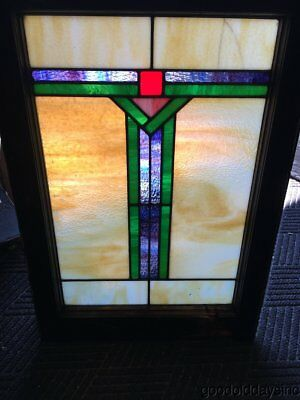 "Antique Stained Leaded Glass Window 29"" by 20"""
