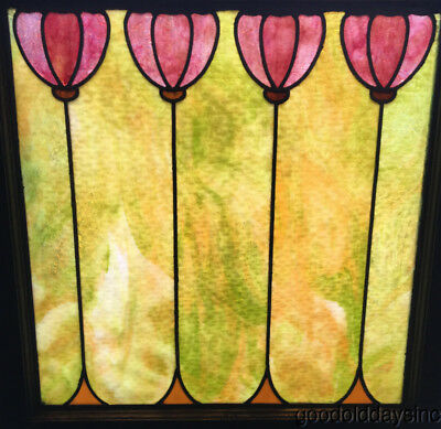 "Antique Stained Leaded Glass Window 29"" by 28"" Circa 1920"