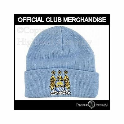 ecf694f858b Manchester City Knitted Hat Official MCFC Crest Football Club Man FC Adult  New