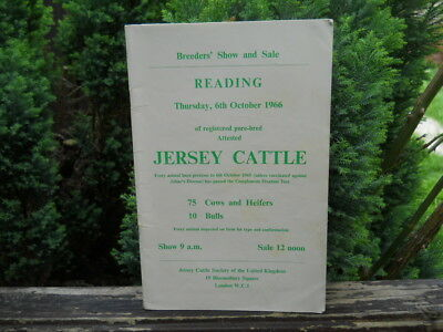 Reading Cattle Market, 1966 Auction Catalogue, Sale of Jersey Cattle
