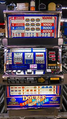 IGT S-2000 REEL SLOT MACHINE: DOUBLE RED WHITE & BLUE WILDSTAR w/ 5 PAYLINES!