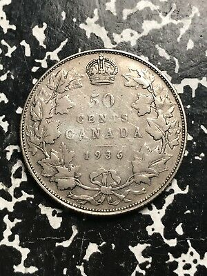 1936 Canada 50 Cents Lot#X8152 Silver! Key Date! Low Mintage!