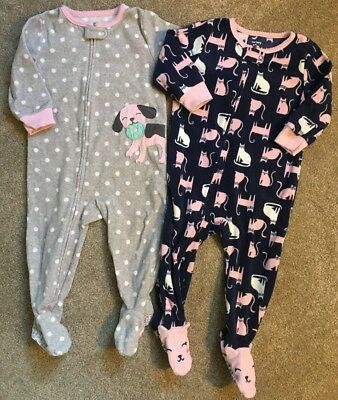 Lot Of Two Girls Size 12 Month Carters Footed Pajamas Cute Soft Fall/Winter