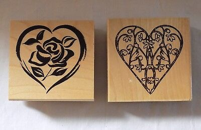 2 Wooden Block Rubber Stamps  Hearts Printing Blocks, Flower Designs