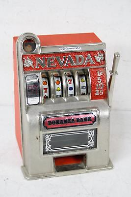 Vintage Working Bonanza Coin Slot Machine Las Vegas Nevada Metal Toy Bank