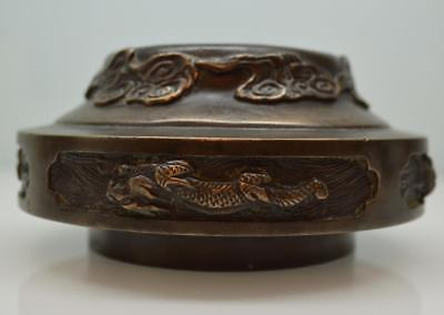 unusual antique Chinese bronze censer or stand with archaic features Ming style