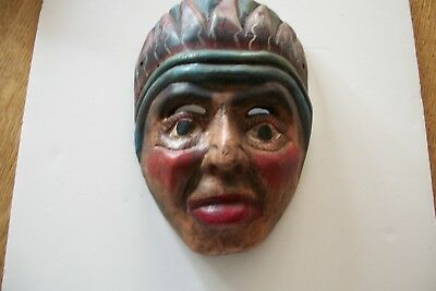 Vintage Folk Art Hand Carved Mexican Mayan Aztec Mask Painted Wood