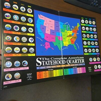 1999-2008 Complete American Statehood Quarter Collection 50 Colorized in Album!