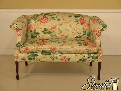 42271: HANCOCK & MOORE Federal Mahogany Floral Upholstered Loveseat