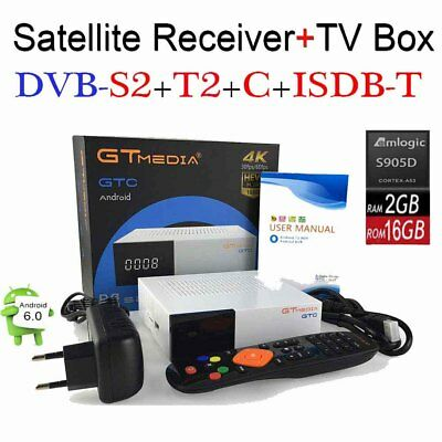 Android 6.0 4K TV BOX Combo Satellite Receiver DVB-S2/T2/Cable/ISDBT 2+16GB WiFI