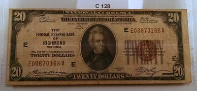 "1929 $20 National Currency Federal Reserve Bank Of Richmond ""e"" Note  #c128"