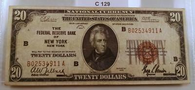 "1929 $20 National Currency Federal Reserve Bank Of New York ""b"" Note  #c129"