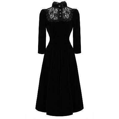 Hearts & Roses London Black Velvet Victorian Gothic Steampunk Vintage Dress
