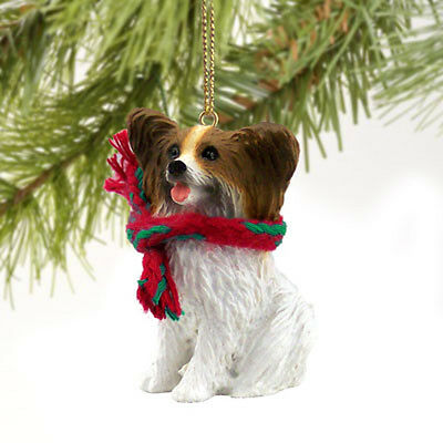 Papillon Brown and White Dog Tiny One Miniature Christmas Holiday ORNAMENT