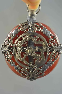 Collectable Handwork Agate & Miao Silver Carve Dragon Phoenix Exorcism Pendant