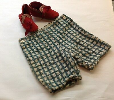 VTG ANTIQUE 1900-1920s VICTORIAN CHILD'S TODDLER SHORTS PANTS & red FELT SHOES
